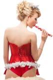 性感的快乐的圣诞老人帮手女孩 免版税库存图片