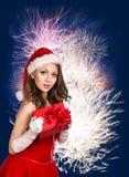 性感的愉快的圣诞老人妇女 免版税图库摄影