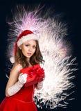 性感的愉快的圣诞老人妇女 库存照片