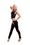 性感的新白肤金发的妇女跳舞 免版税库存图片