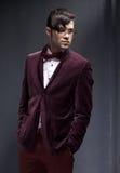 性感的时尚男性模型穿戴的典雅 库存图片