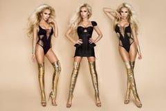 性感的比基尼泳装和惊人的金高跟鞋鞋子的端庄的妇女 库存照片