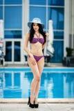 性感的泳装的美丽的女孩 免版税库存照片