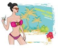 性感的海滩女孩框架 免版税库存照片
