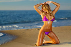 性感的海滩比基尼泳装女孩 免版税库存图片
