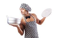 性感的男性厨师查出 免版税库存图片