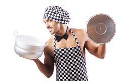 性感的男性厨师查出 免版税图库摄影