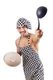 性感的男性厨师查出 免版税库存照片