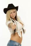 性感的白肤金发的女牛仔 库存照片