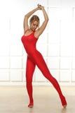 性感的白肤金发的完善的运动亭亭玉立的图瑜伽锻炼或fitnes 库存图片