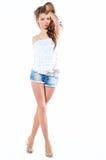 性感的短裤妇女年轻人 免版税库存图片