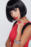 性感的秀丽浅黑肤色的男人妇女。构成。时髦的边缘。黑短 免版税图库摄影