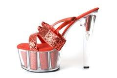 性感的红色鞋子 免版税库存照片
