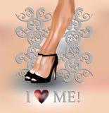 性感的腿和爱我概念 库存例证