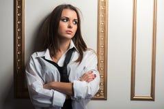 年轻性感的诱惑妇女特写镜头画象  库存图片