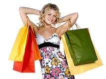 性感的购物妇女 免版税图库摄影