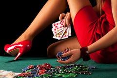 性感的赌博的妇女 库存图片