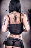 性感的难看的东西纹身花刺女孩 图库摄影