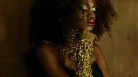 性感的非裔美国人的女性模型肉欲的画象与摆在织地不很细的照相机的光滑的金黄构成的 库存照片