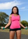 性感的非裔美国人的妇女-健身 免版税图库摄影