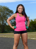 性感的非裔美国人的妇女-健身 免版税库存照片