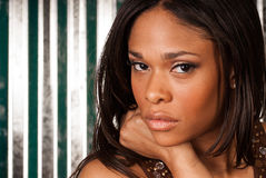性感的非裔美国人的时装模特儿 免版税库存图片