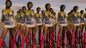 性感的靠机械装置维持生命的人女性机器人 免版税图库摄影