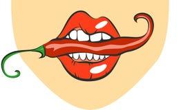性感的嘴唇用炽热辣椒 流行艺术嘴尖酸的香料 关闭的动画片女孩吃调味料的观点 传染媒介illustrat 库存图片