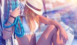 年轻性感的水手女孩 图库摄影