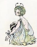 性感美丽的蝴蝶服装的女孩 库存图片