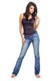 性感蓝色女孩的牛仔裤 库存照片