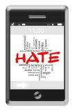 怨恨词在触摸屏幕电话的云彩概念 库存图片
