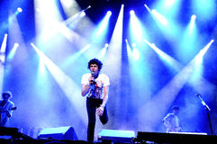 怪人,英国摇滚带在布赖顿,在Complejo Deportivo Cantarranas的音乐会形成了 免版税图库摄影