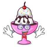 怪杰冰淇凌圣代冰淇淋字符动画片 库存例证