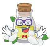 怪杰在吉祥人桌上的茉莉花油瓶 向量例证