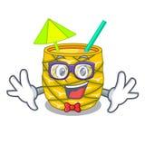 怪杰在玻璃器皿的菠萝汁在吉祥人 向量例证