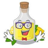 怪杰柠檬动画片在桌上的油瓶 向量例证