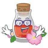 怪杰野玫瑰果在字符隔绝的菜籽油 库存例证
