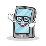 怪杰面孔智能手机漫画人物 库存例证