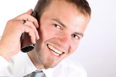 总公司人电话微笑 免版税库存照片