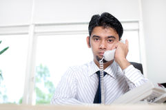 总公司人电话联系 免版税库存图片