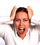 总公司沮丧的妇女 免版税库存照片