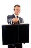 总公司的公文包他的陈列年轻人 免版税库存图片
