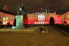 总统府在晚上。 Warsaw.Poland 免版税库存照片