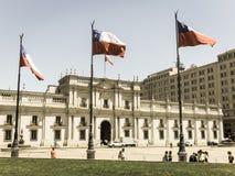 总统府的看法,叫作La Moneda,在圣地亚哥 图库摄影