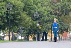 总统护卫队游行在莫斯科克里姆林宫 图库摄影