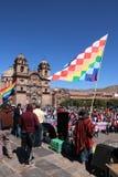 总罢工在库斯科,秘鲁 库存图片