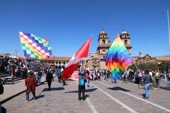 总罢工在库斯科,秘鲁 免版税库存图片