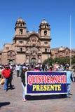 总罢工在库斯科,秘鲁 免版税图库摄影