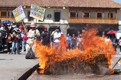总罢工在库斯科,秘鲁 库存照片